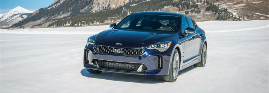 "Front exterior view of a blue 2019 Kia Stinger GT ""Atlantica"""