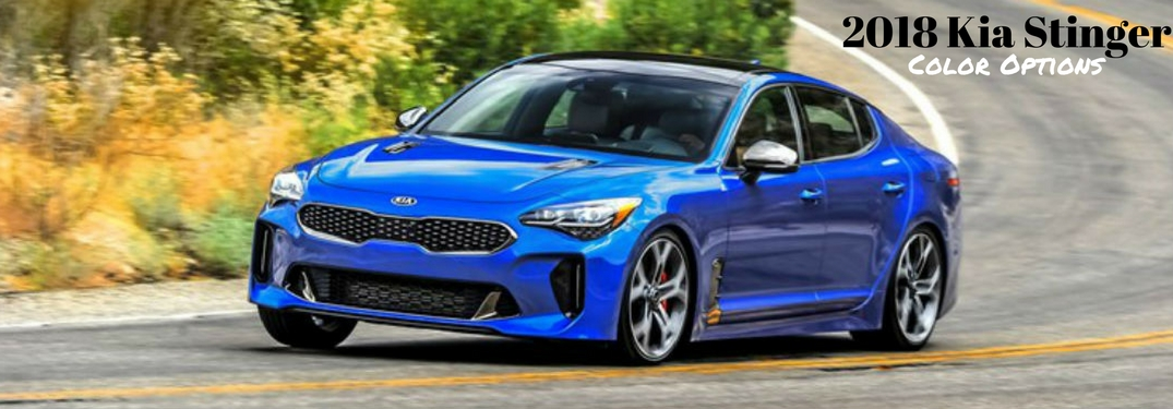 2018 Kia Stinger Color Options, text on an exterior image of a blue 2018 Kia Stinger