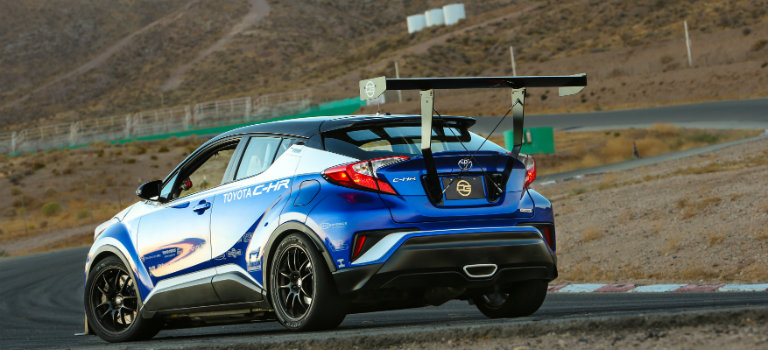 blue-and-white-Toyota-C-HR-R-Tuned-rear-spoiler-view