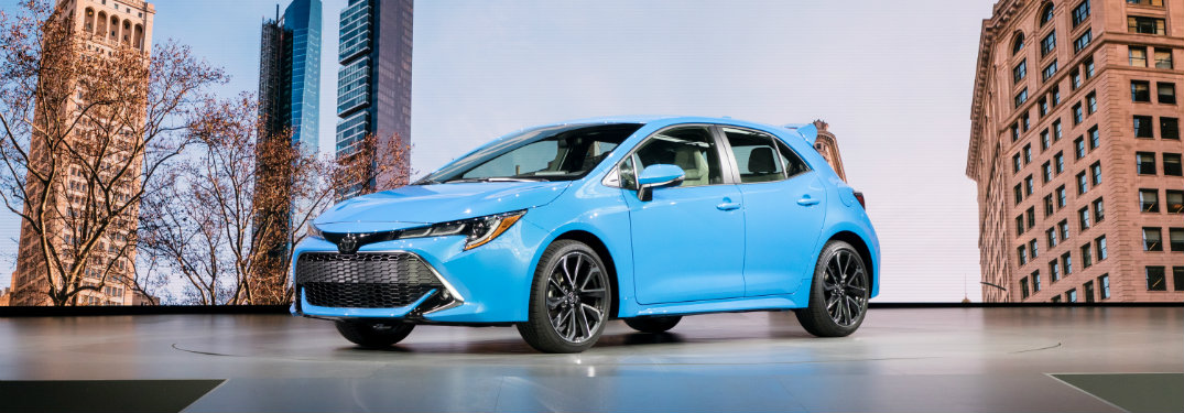 Blue 2019 Toyota Corolla Hatchback On Display At Ny International