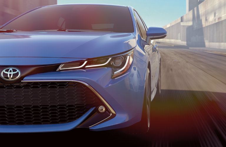 Front View Of 2019 Toyota Corolla Hatchback In Rival Blue O Toyota