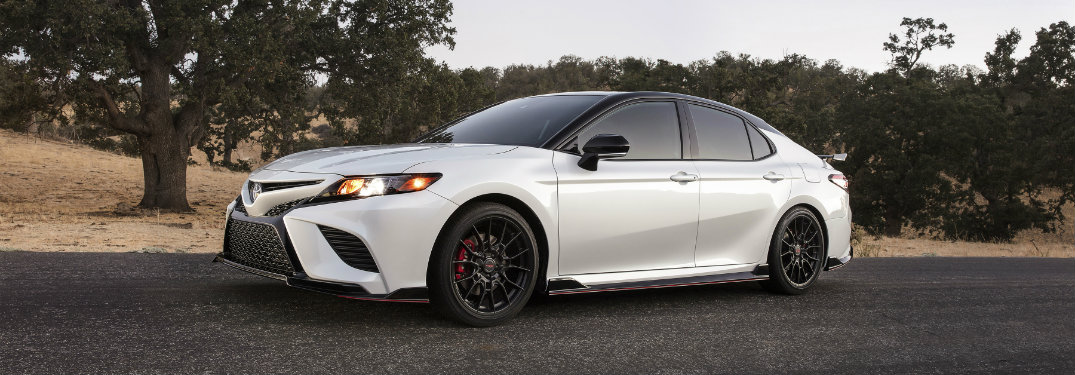 side-view-of-white-2020-Toyota-Camry-TRD