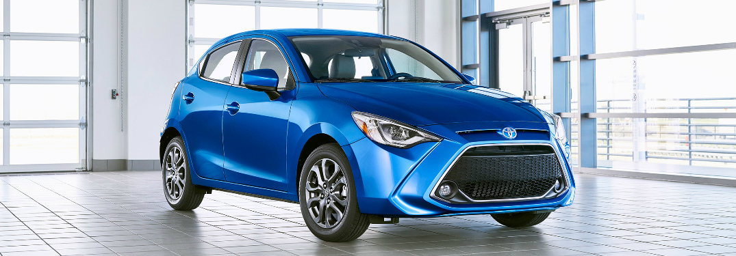 Front view of blue 2020 Toyota Yaris Hatchback