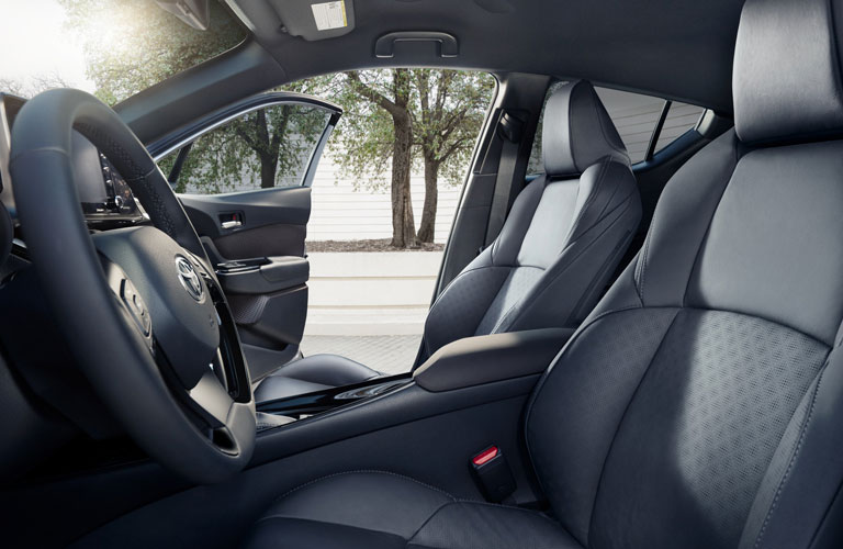 Grey steering wheel and front seats in 2020 Toyota C-HR