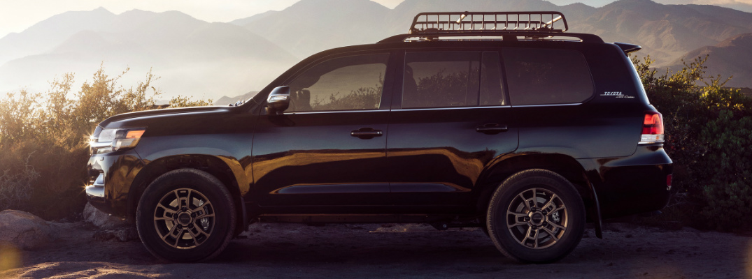 Side view of black 2020 Toyota Land Cruiser