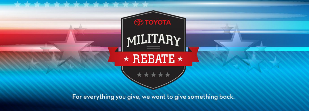 Toyota Military Rebate logo and red, white, and blue graphics