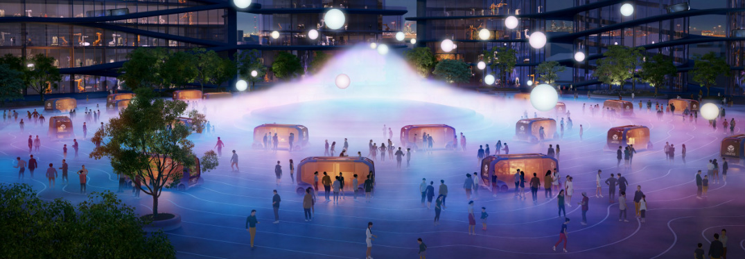 Plaza in Toyota Woven City of the Future