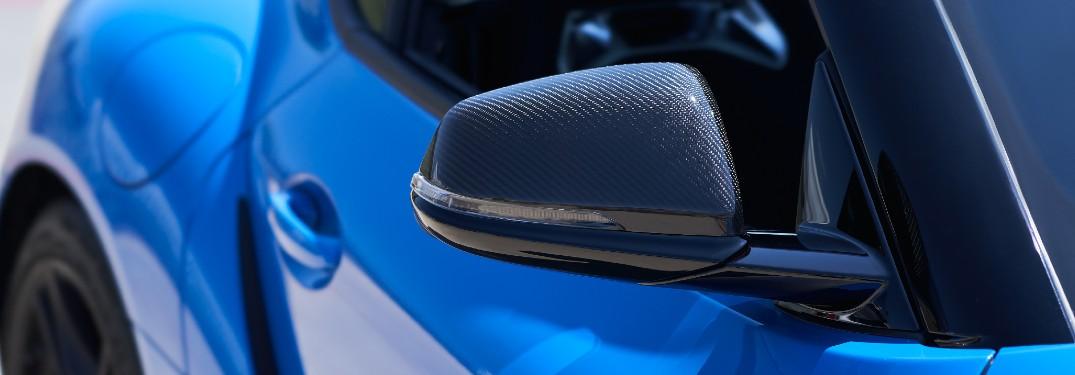 Outside mirror on blue 2021 Toyota GR Supra A91 Edition