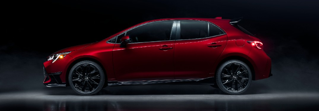 Side view of red 2021 Toyota Corolla Hatchback Special Edition