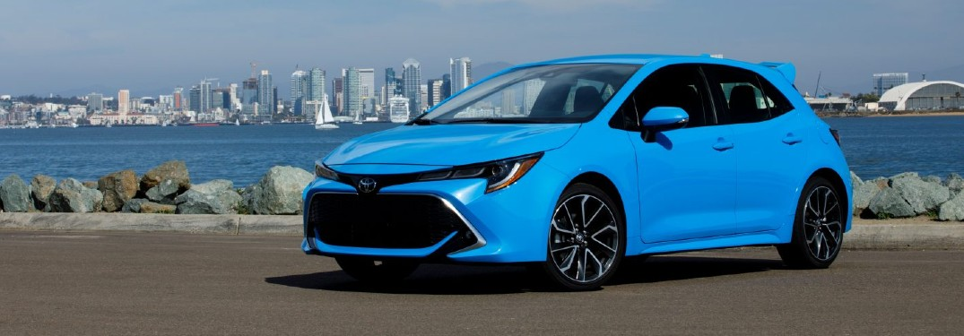 Blue 2021 Toyota Corolla Hatchback with a city skyline in the background