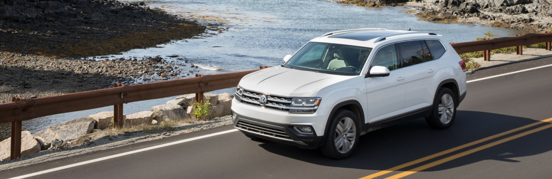 2018 Volkswagen Atlas driving across bridge