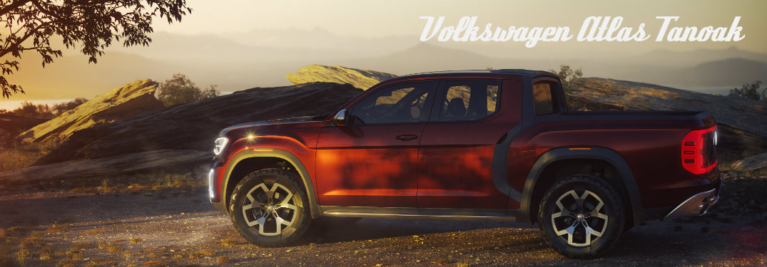 Volkswagen Atlas Tanoka concept parked in sunset and shade