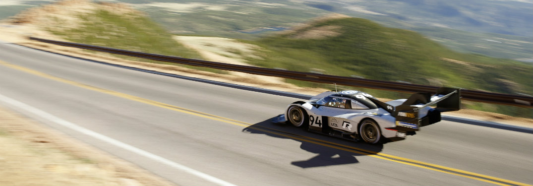 Rear view of the Volkswagen I.D. R Pikes Peak taken from helicopter footage