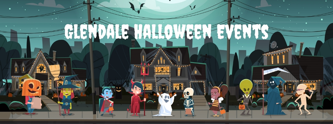 Cartoon Trick or Treaters with White Glendale Halloween Events Text