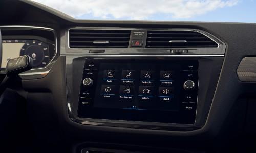 2021 Volkswagen Tiguan interior close up on infotainment screen