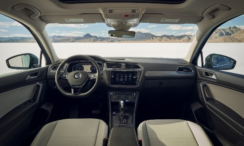 2021 Volkswagen Tiguan interior wide shot of front cabin