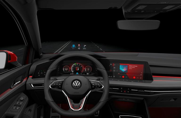 Steering wheel, digital cockpit and interior of the Mk 8 Golf GTI.