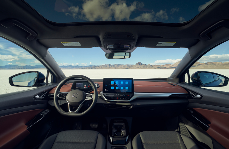 Steering wheel and interior of the 2021 VW ID.4.
