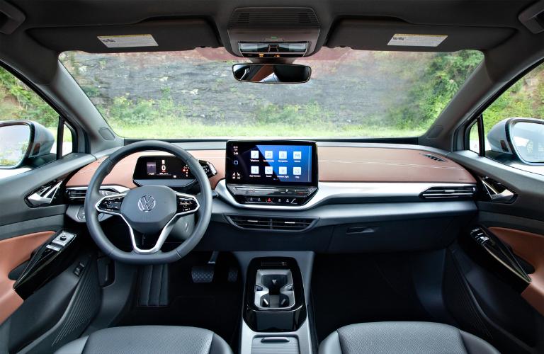Steering wheel and interior of the Volkswagen ID.4.