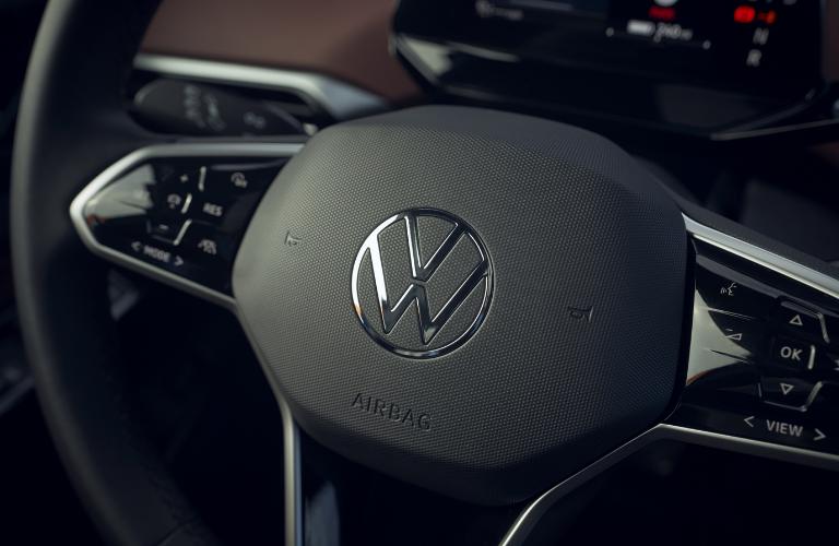 Closer look of the 2021 Volkswagen ID.4 steering wheel.