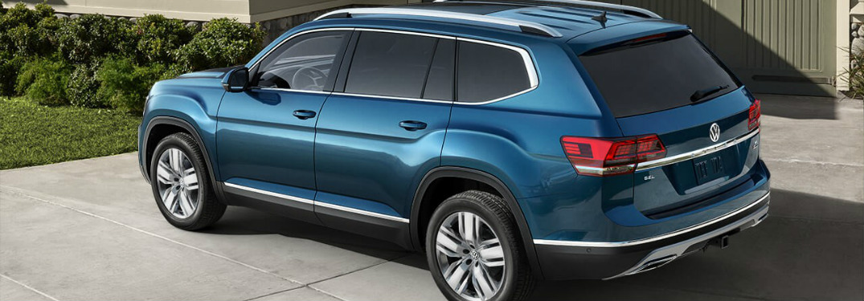 blue 2018 VW Atlas side view