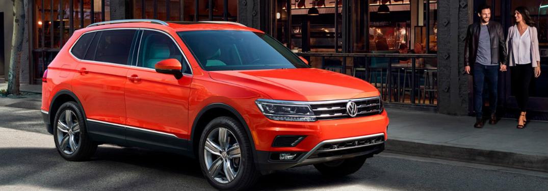 orange 2018 VW Tiguan front side view