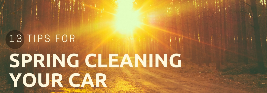 13-tips-for-spring-cleaning-your-car-with-barckground-image-of-sunset-shining-through-wooded-area