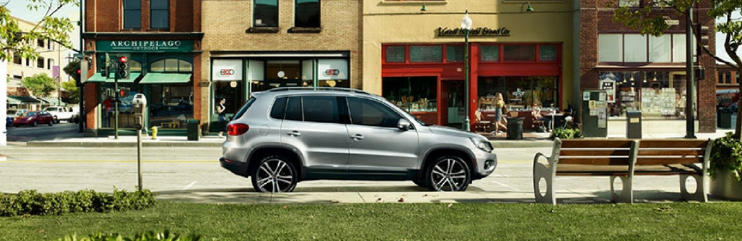 2018 Volkswagen Tiguan in front of shops