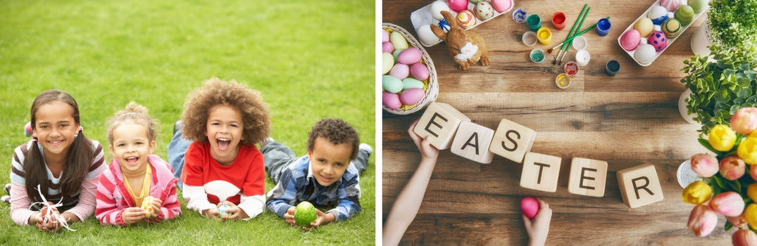 Side by side picture of kids in the grass and blocks that spell out Easter