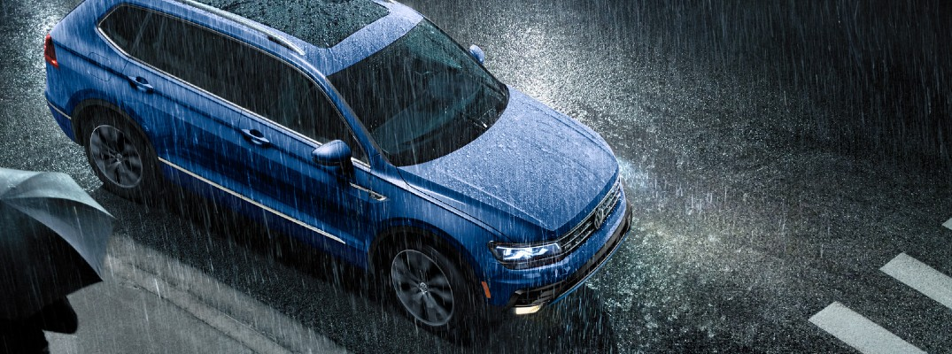 2020 VW Tiguan blue exterior birds eye view rain