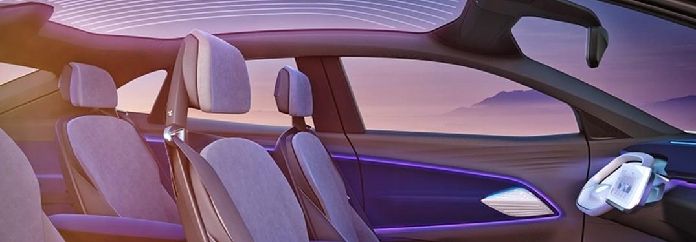 Volkswagen ID concept interior purple lighting thin seats