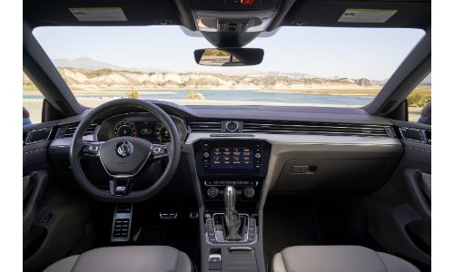 2020 Arteon SEL Premium R-Line interior view of front cabin from back seats