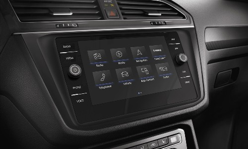 2020 Volkswagen Tiguan close up of infotainment screen home screen at angle