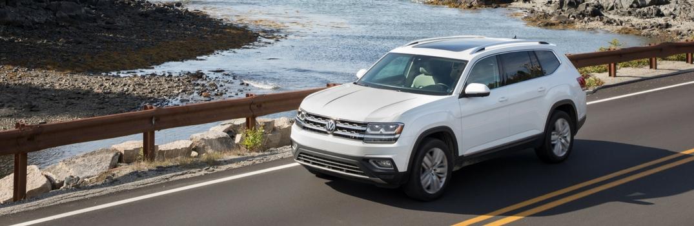 2018 Volkswagen Atlas driving over a bridge