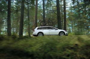 white 2018 golf alltrack in forest