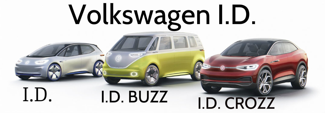 vw id concept vehicles on white