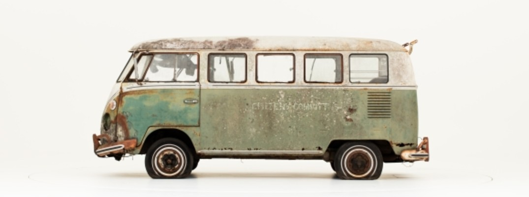vw type 2 bus on white