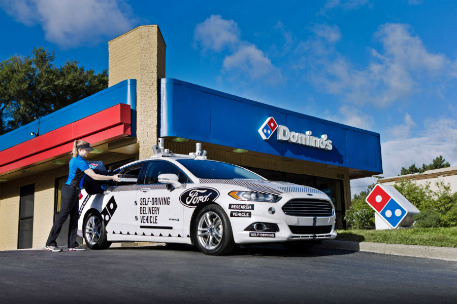 Ford self-driving pizza delivery vehicle side exterior_o