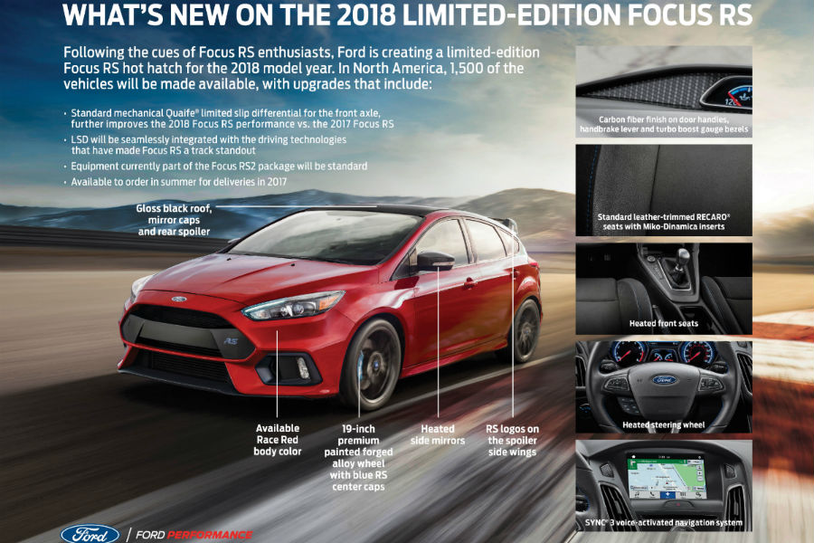 2018 Ford Focus Limited Edition fact sheet