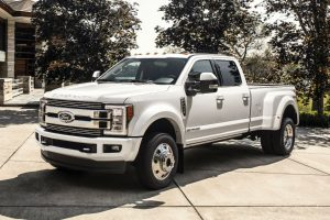 2018 Ford F-450 Super Duty Limited 4x4 model with white exterior paint and dual rear wheels