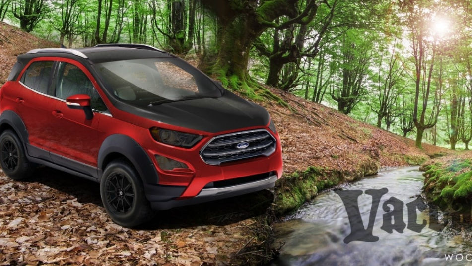 Custom 2018 Ford Ecosport Featuring Vaccar Red And Black