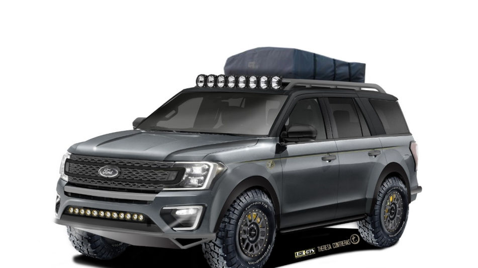 Custom 2018 Ford Expedition Featuring Gray Interior Roof Lights And A Rack