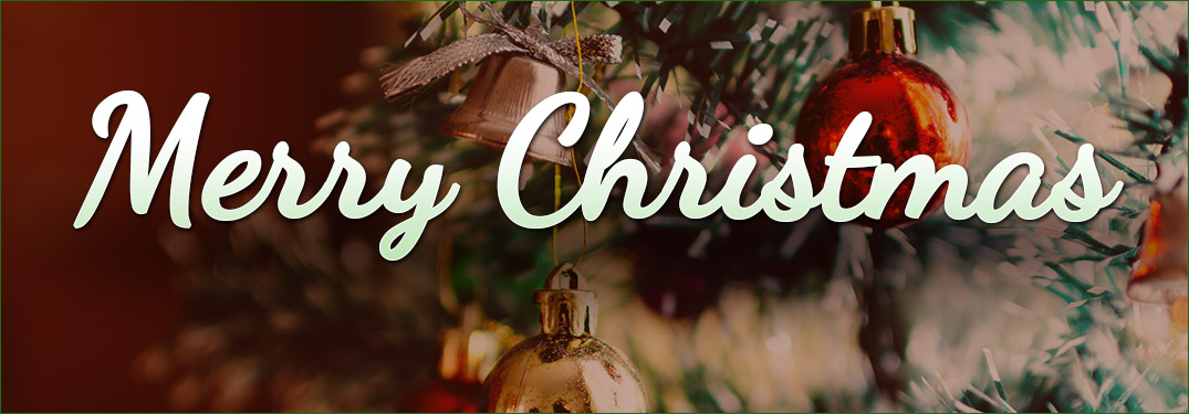 Merry Christmas in white lettering against a Christmas tree background