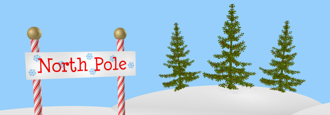 sign for the North Pole against a snowy winter background