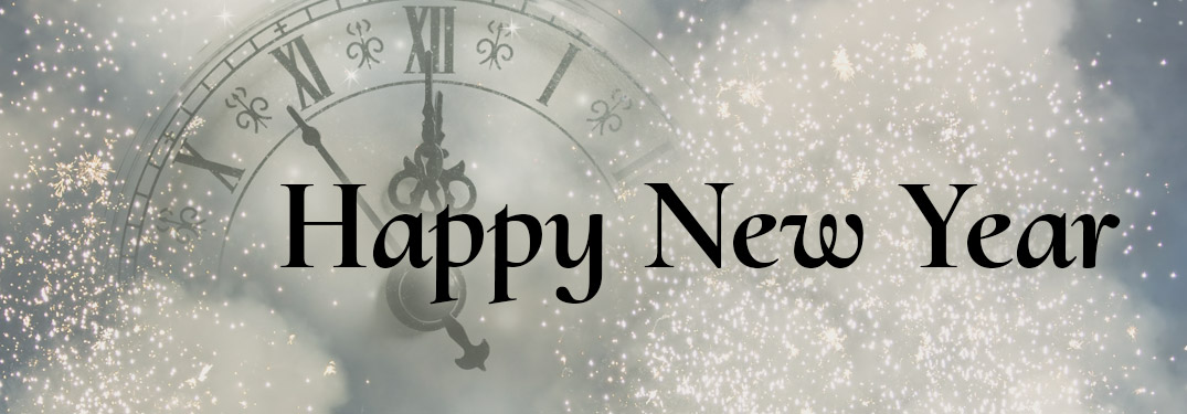 Happy New Year written against a festive white background with a clock nearing midnight