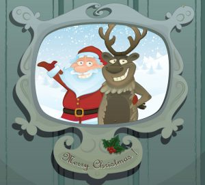 animated Santa and a reindeer waving with Merry Christmas written underneath