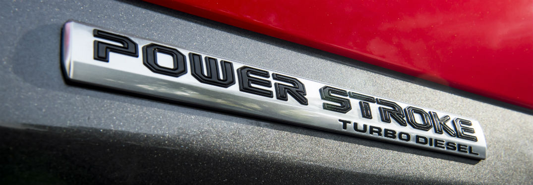 close up of the Power Stroke Turbo Diesel logo of the 2018 Ford F-150 Diesel