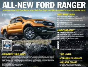 2019 Ford Ranger Fact Sheet explaining all the new features of the model
