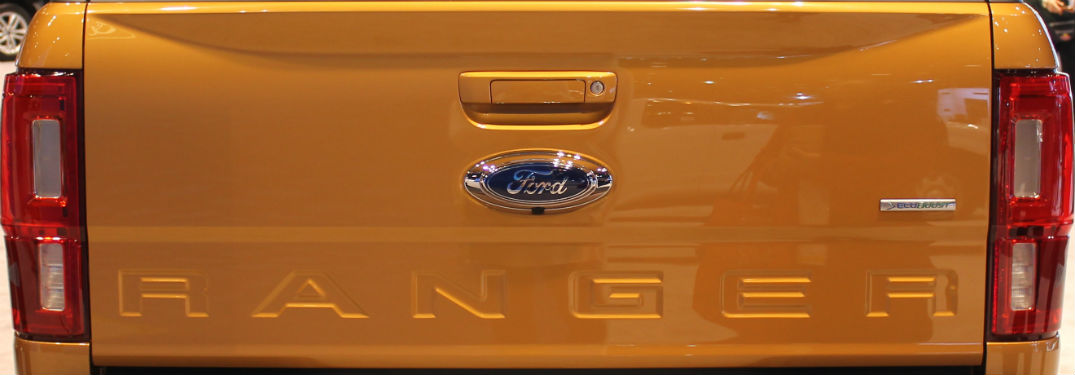 close up of the tailgate of a gold 2019 Ford Ranger at the 2018 Chicago Auto Show