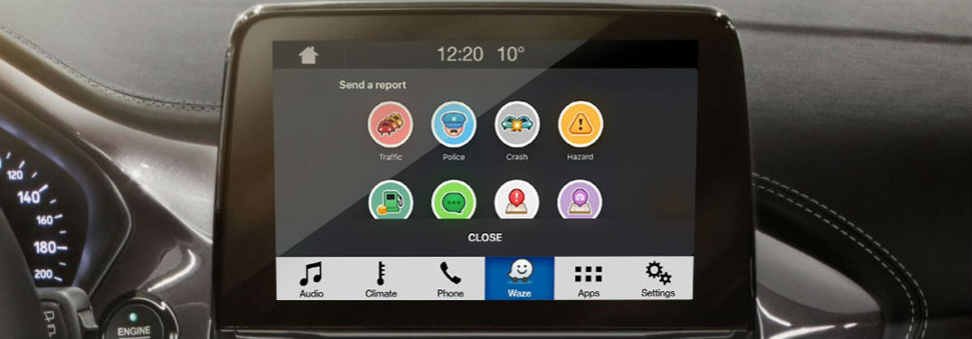 close up of a SYNC 3 infotainment system featuring the Waze Community-Based Traffic and Navigation App